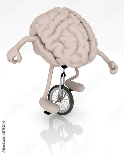 brain with arms and legs rides a unicycle