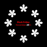 trendy black friday banner with special flower design