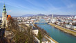 Panoramic view of the Salzburg and Salzach river.
