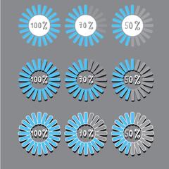 blue preloaders and progress loading bars. vector illustration.