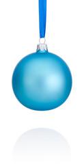 Blue Christmas ball hanging on ribbon Isolated on white backgrou