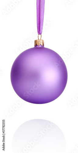 Purple Christmas ball hanging on ribbon Isolated on white backgr