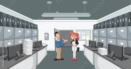 Happy cartoon couple working on office