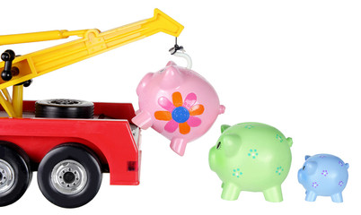 Toy Crane and Piggy Banks