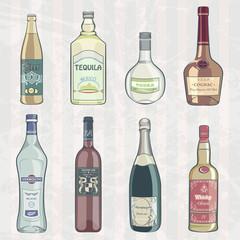 Vintage Set of Alcohol Bottles