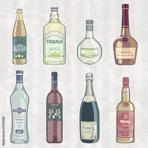 Vintage Set of Alcohol Bottles
