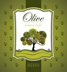 Olive tree. Vector decorative olive branch. For labels, pack.