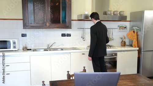 businessman at home drinking coffee