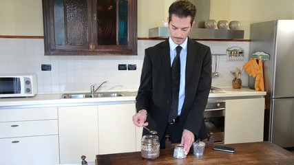 businessman making coffee