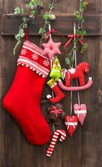 christmas decoration stocking and handmade toys