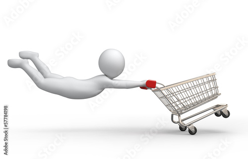 Sale, 3d human and shopping cart