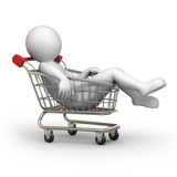 tired buyer, 3d human and shopping cart