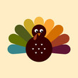 Cute retro Thanksgiving Turkey isolated on beige