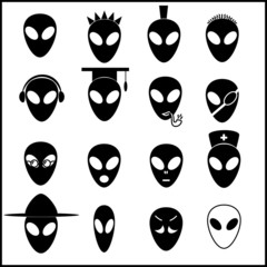 alien icons set eps10
