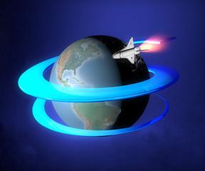 Mondo terra sole globo spazio shuttle orbita navicella