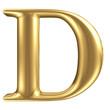 Golden matt letter D, jewellery font collection