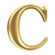 Golden matt letter C, jewellery font collection