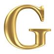 Golden matt letter G, jewellery font collection