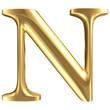 Golden matt letter N, jewellery font collection