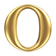 Golden matt letter O, jewellery font collection