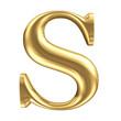 Golden matt letter S, jewellery font collection