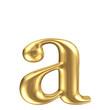 Golden matt lowercase letter a, jewellery font collection