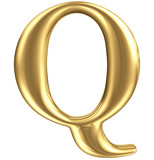 Golden matt letter Q, jewellery font collection