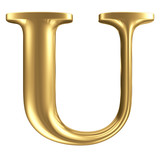 Golden matt letter U, jewellery font collection