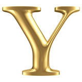 Golden matt letter Y, jewellery font collection