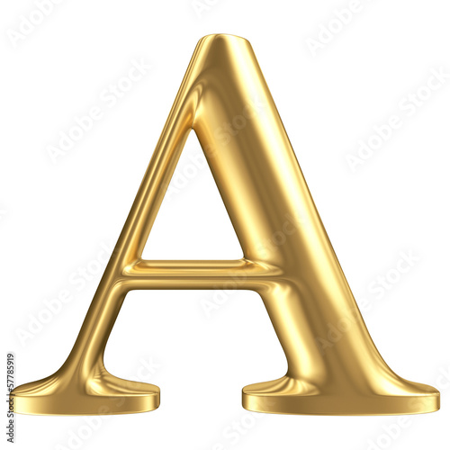 Golden matt letter A, jewellery font collection