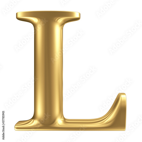 Golden matt letter L, jewellery font collection