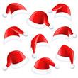 Zdjęcia na płótnie, fototapety, obrazy : Set of red santa hats