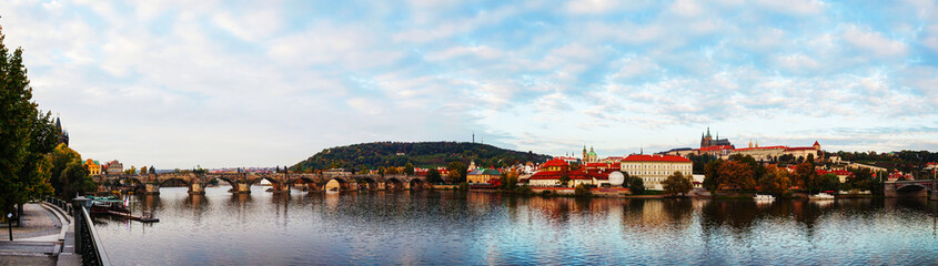 Panoramic overview of old Prague with Charles bridge