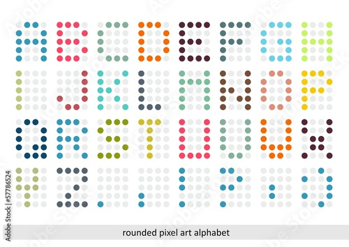 Rounded pixel art alphabet font in pastel colors