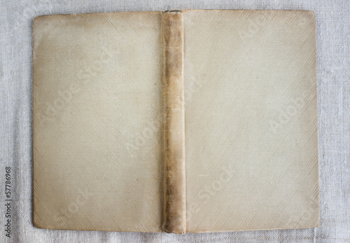 Antique book cover with spine, covered with cloth, stained.