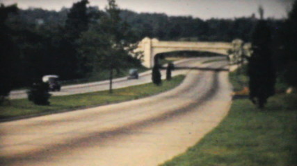 Cars Driving Down Toll Highway in New York-1940 Vintage 8mm