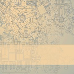 Retro technical background, drawing  engine