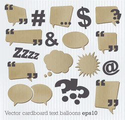 Cardboard text balloon