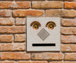A modern intercom doorbell  panel on old brick wall.