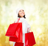 picture of happy woman with shopping bags
