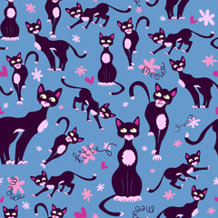 Cute seamless pattern with cartoon cats