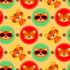 Colorful seamless pattern with cute baby tigers