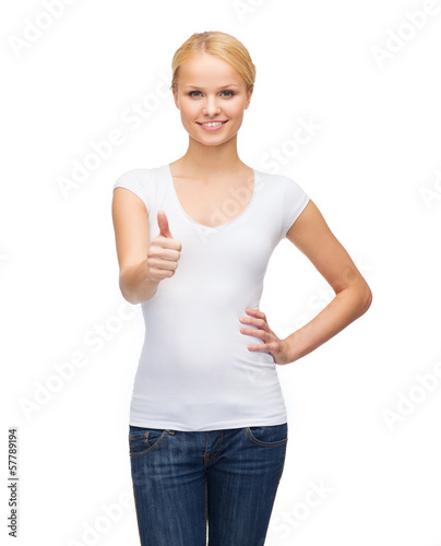 woman showing thumbs up