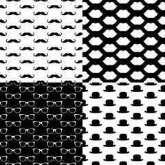 Vector Hipster Seamless Patterns, lips, glasses, mustaches, hats