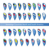 Pin flags of the Sovereign Countries North and South America poster