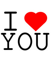 Text I love you mit Herz