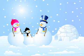 Igloo & Snowman Family