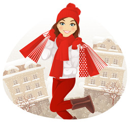 Winter shopping girl