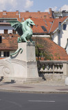 Famous Dragon bridge (Zmajski most), symbol of Ljubljana, capita