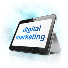 Advertising concept: Digital Marketing on tablet pc computer
